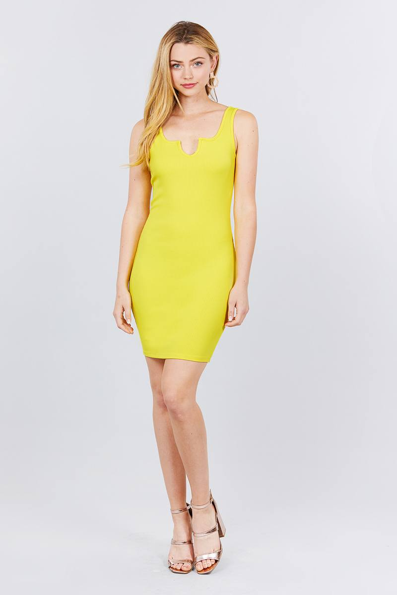 Sleeveless Deep Round V-shape Neck Heavy Rib Mini Dress - Absolute Fashion 2020