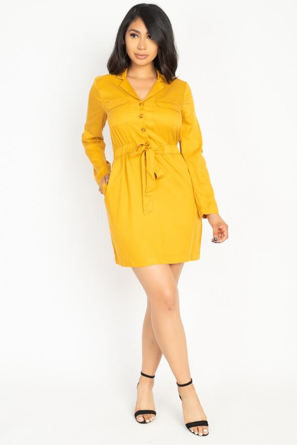 Rtn Bttn Belted Shirts Dress - Absolute Fashion 2020