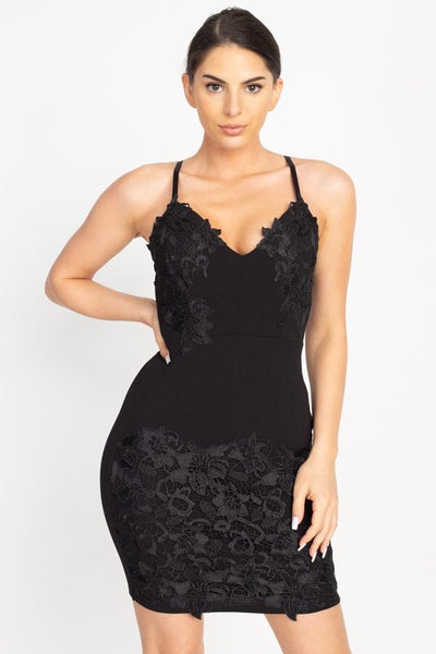 Floral Lace Embroidered Mini Dress - Absolute Fashion 2020