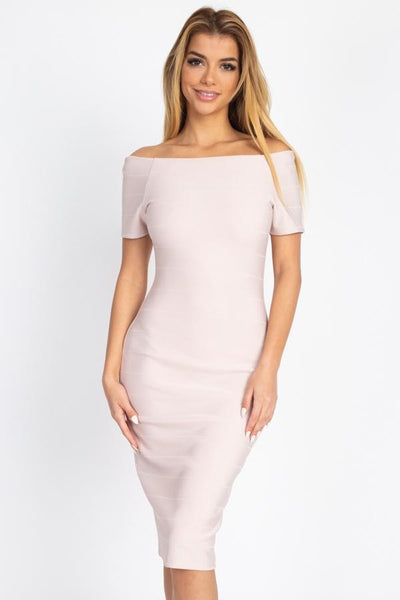 Off The Shoulder Bandage Dress - Absolute Fashion 2020