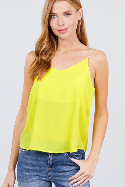 Double V-neck Cami Woven Top - Absolute Fashion 2020