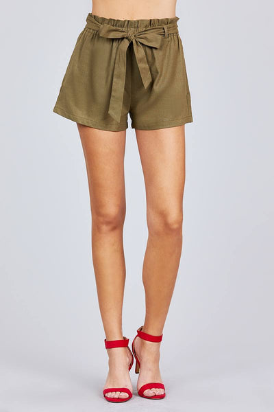 Paper Bag W/bow Tie Short Linen Pants - Absolute Fashion 2020