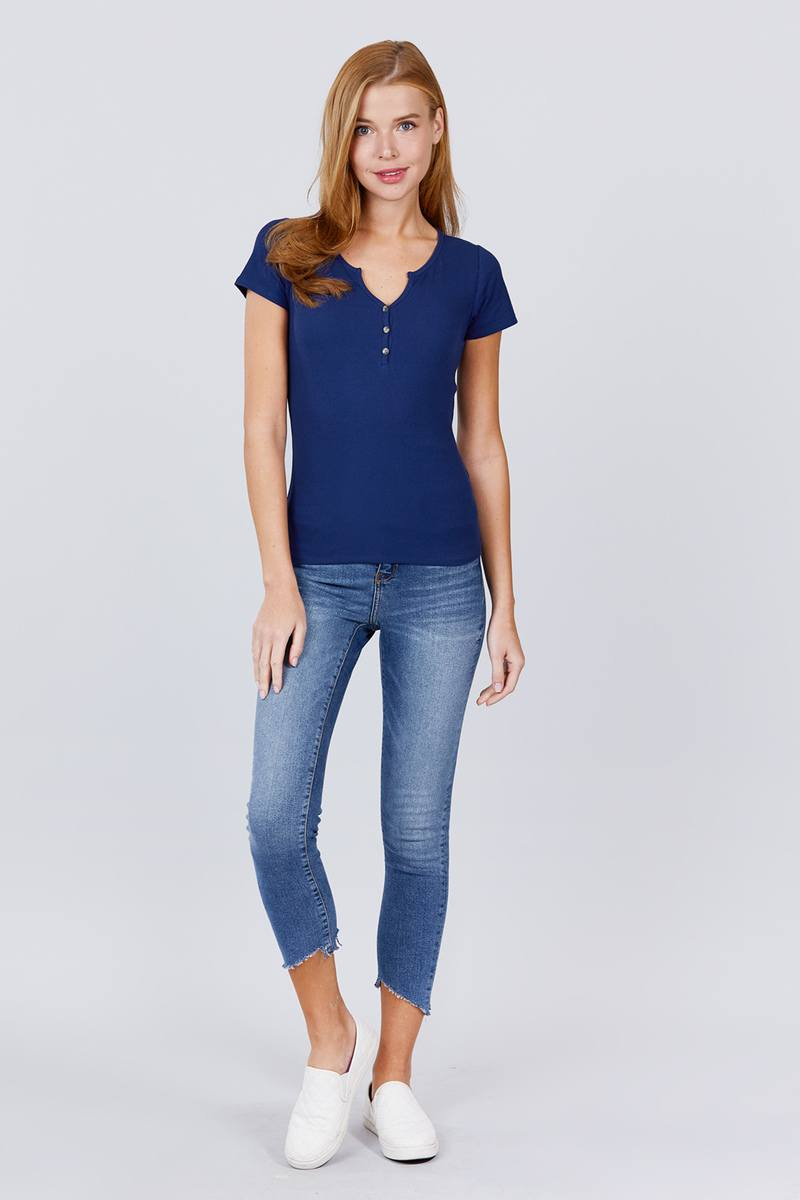 Short Sleeve W/button Detail Henley Neck Rib Knit Top - Absolute Fashion 2020