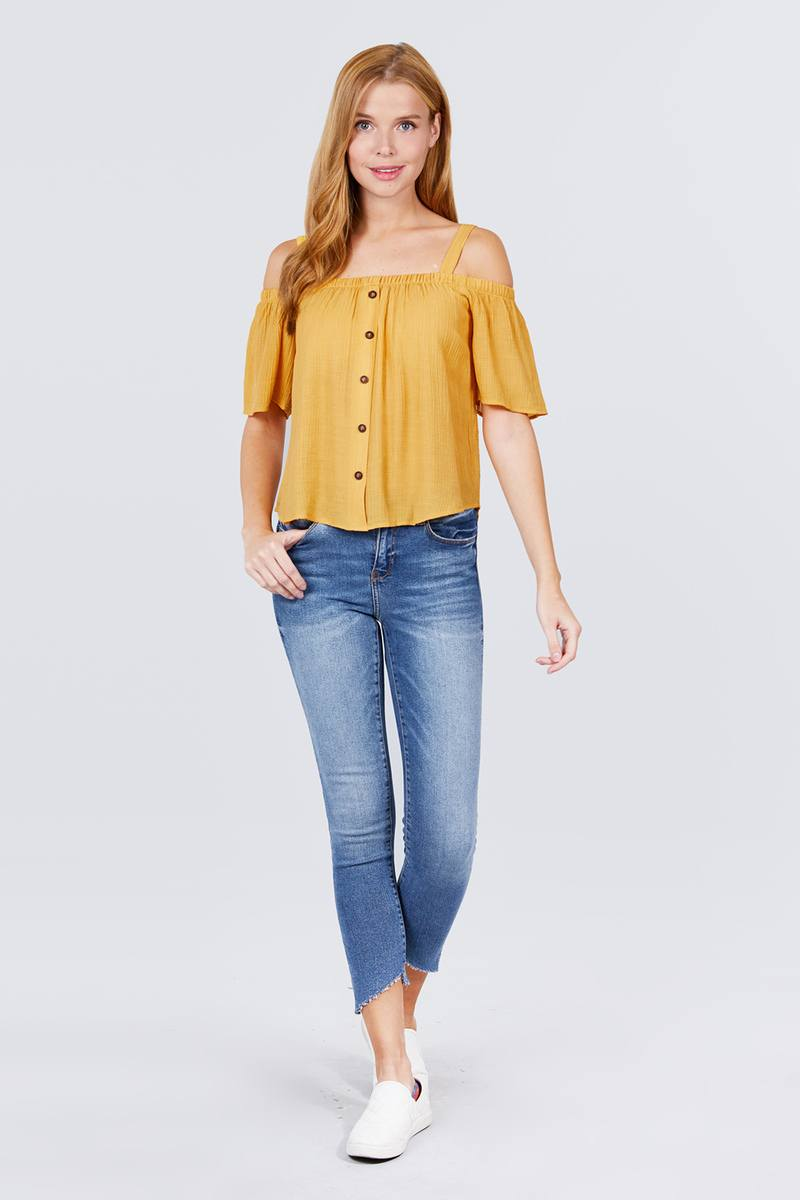 Elbow Sleeve Open Shoulder Button Down Woven Top - Absolute Fashion 2020