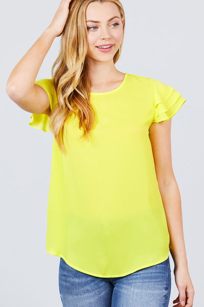 Short Cap Ruffle Sleeve Round Neck Woven Top - Absolute Fashion 2020