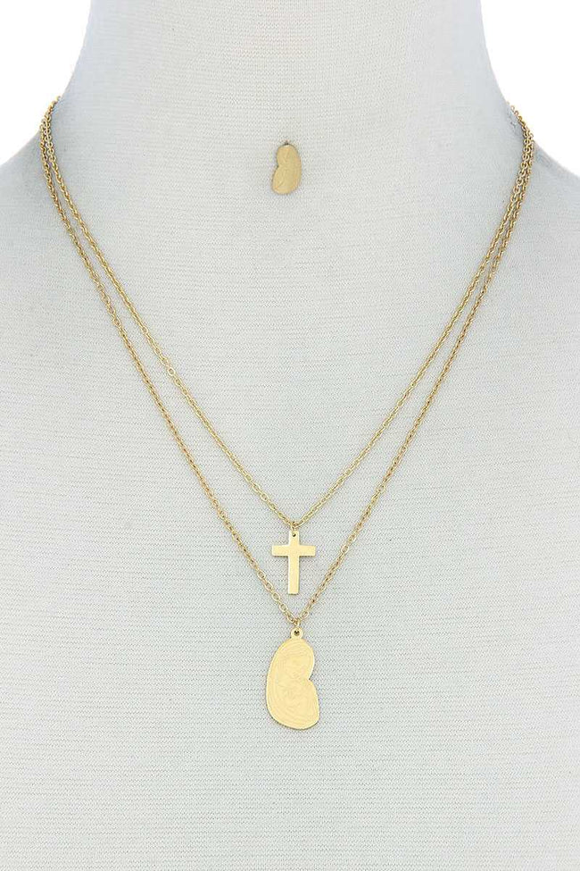 Stylish Double Layer Cross And Mary Necklace And Earring Set - Absolute Fashion 2020