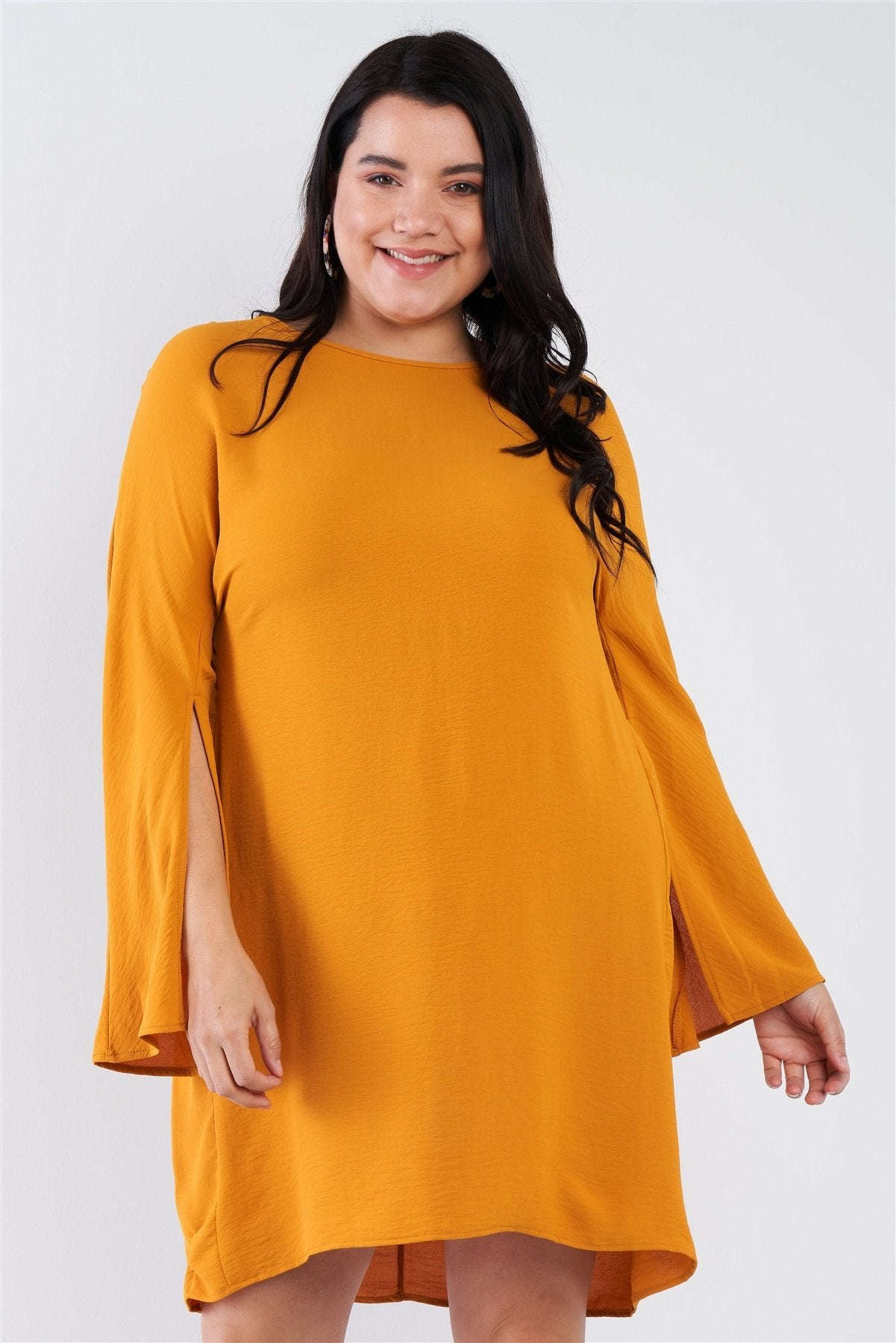Plus Size Retro Chic Full Slit Sleeve Mini Dress - Absolute Fashion 2020