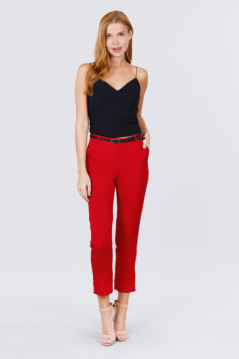 Classic Woven Pants W/belt - Absolute Fashion 2020