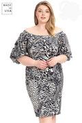 Plus Size  Animal Print Crepe Stretch Bodycon Dress - Absolute Fashion 2020