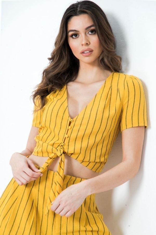 Striped Linen Top With Button-down Closure And Scarf Tie Hem - Absolute Fashion 2020