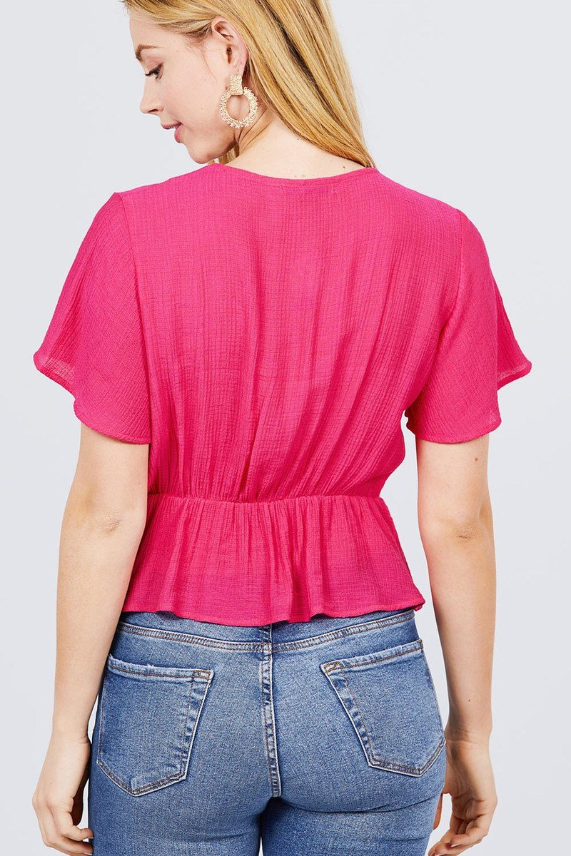 Short Sleeve V-neck Surplice Button Down Detail Ribbon Tie Back Shirring Woven Top - Absolute Fashion 2020