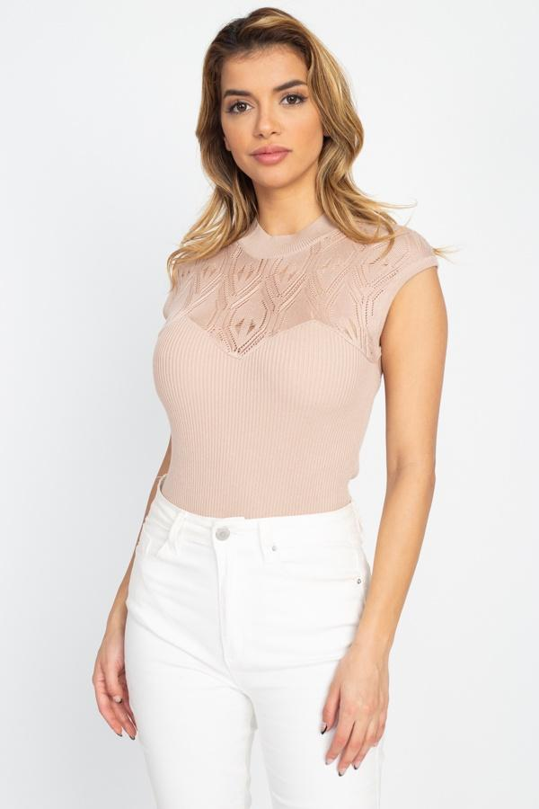 Pointelle Knit Mock Neck Bodysuit - Absolute Fashion 2020