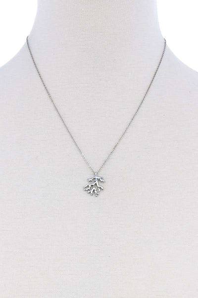 Cute Coral Leaf Pendant Necklace - Absolute Fashion 2020