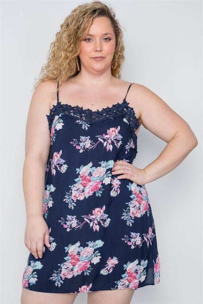 Plus Size Navy Floral Crochet Boho Mini Cami Dress - Absolute Fashion 2020