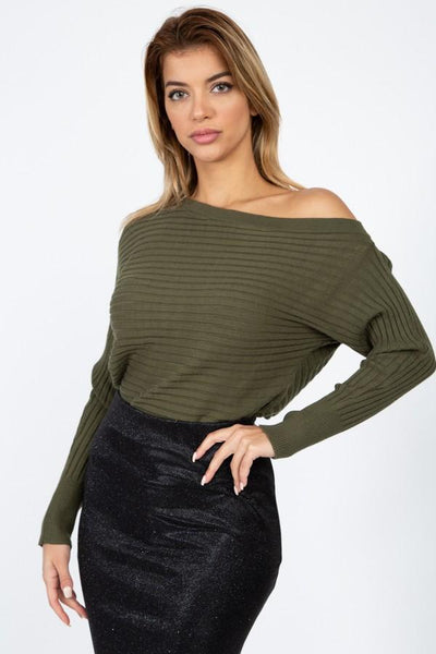 One Shoulder Ribbed Sweater - Absolute Fashion 2020
