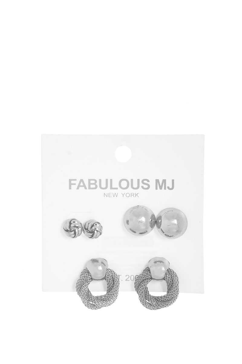 Fabulous 3 Pairs Modern Stud Earring Set - Absolute Fashion 2020