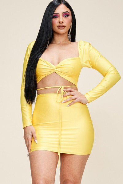 Solid Long Sleeve Mini Dress With Twisted Front And Waist Tie - Absolute Fashion 2020