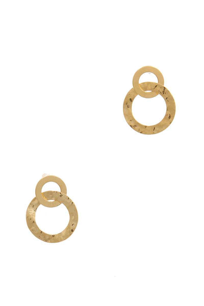 Hammered Metal Double Circle Post Earring - Absolute Fashion 2020