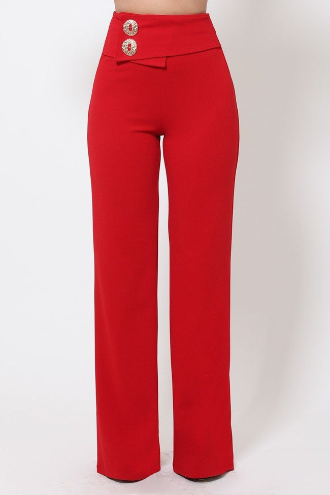 Oversized Button Front Detail Pants - Absolute Fashion 2020