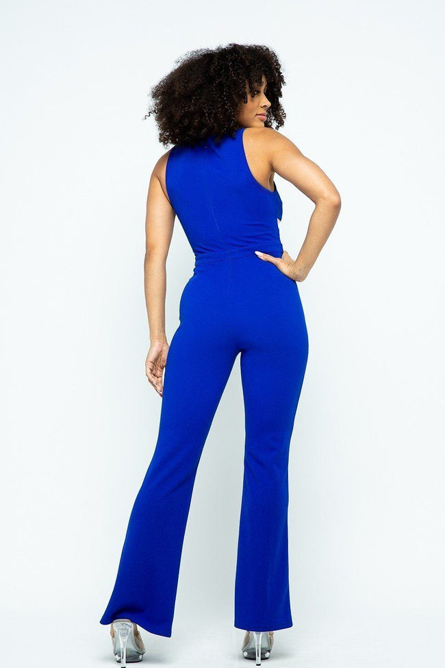 Stretchable Jumpsuit With Mesh Details And Center Back Zippered - Absolute Fashion 2020