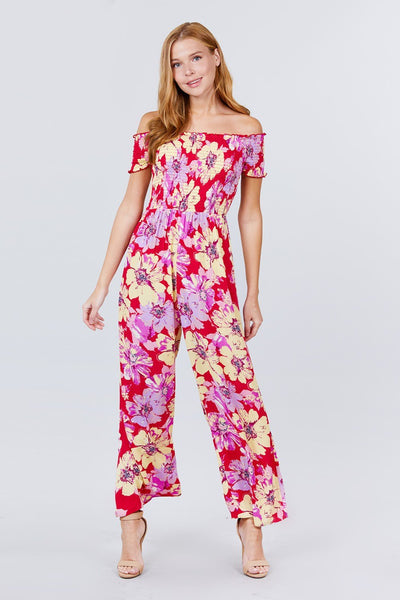 Short Sleeve Off The Shoulder Smocked Detail With Floral Print Long Wide Leg Jumpsuit. - Absolute Fashion 2020