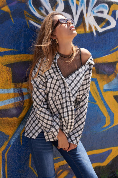 White Black Plaid Asymmetrical Front Button Down Top - Absolute Fashion 2020