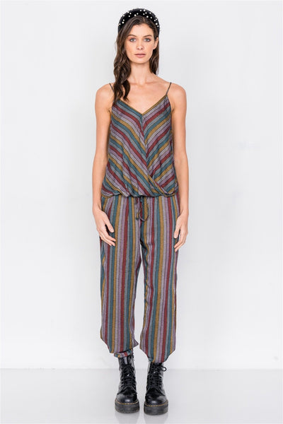 Multi Stripe Scoop Neck High-low Cami & Side Slit Harem Pant Set - Absolute Fashion 2020
