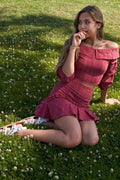 Raspberry Plaid Off-the Shoulder Retro Chic Crop Top & Mini Ruffle Skirt Set - Absolute Fashion 2020