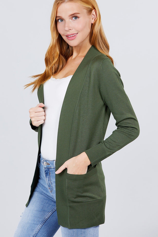 Long Sleeve Rib Banded Open Sweater Cardigan W/pockets - Absolute Fashion 2020