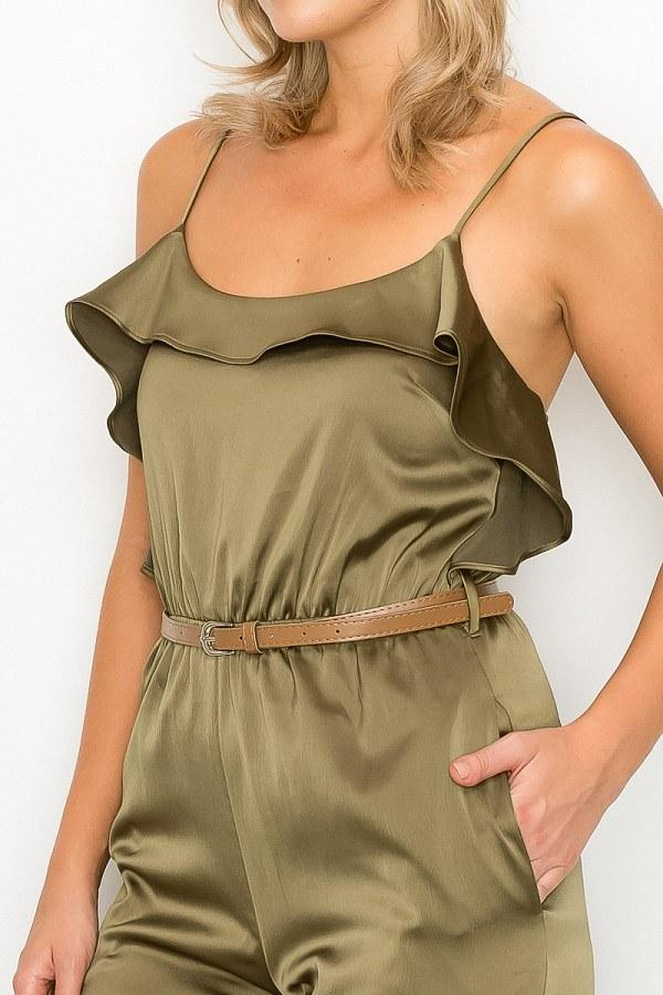 Ruffle Trim Belted Jumpsuit - Absolute Fashion 2020