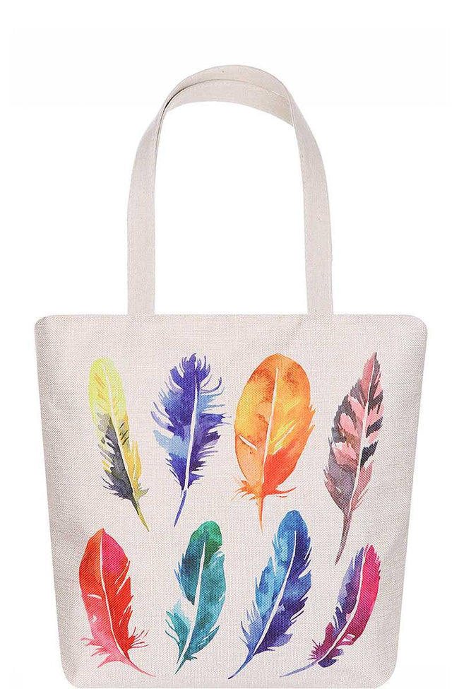 Fashion Multi Color Feather Water Color Print Ecco Tote Bag - Absolute Fashion 2020