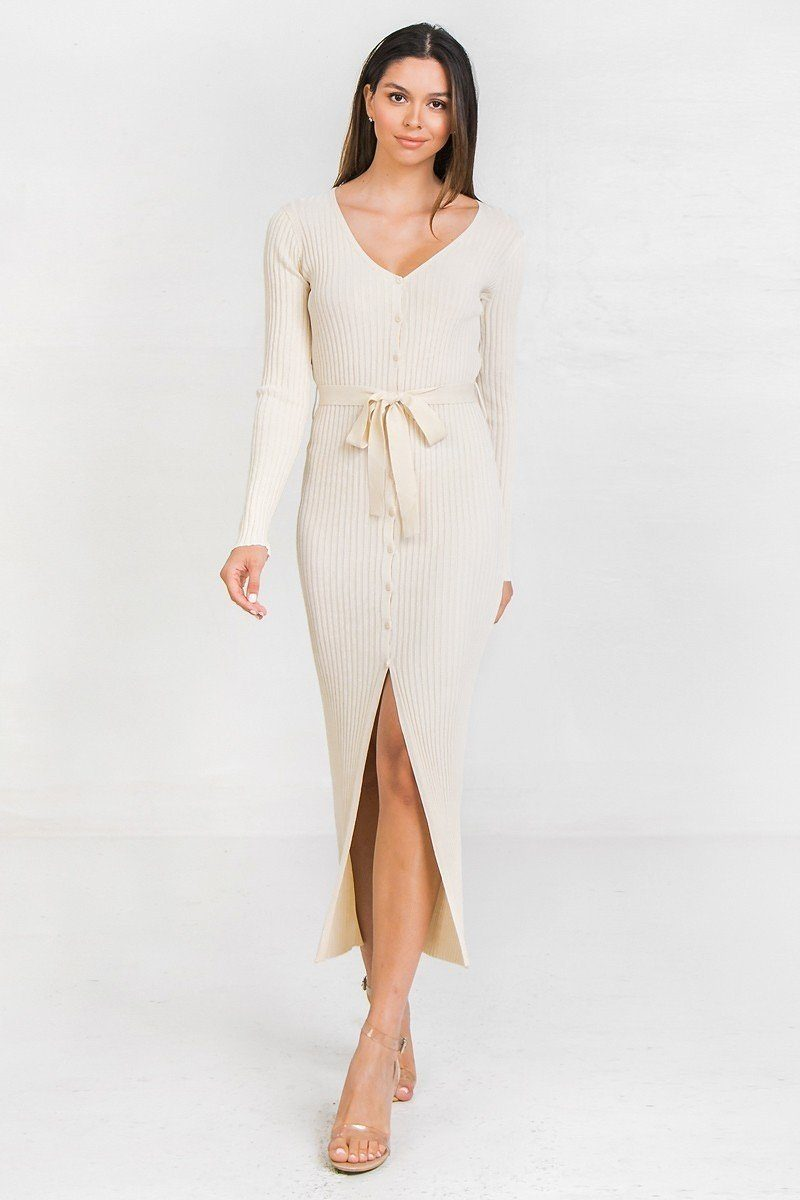 A Ribbed Sweater Knit Maxi Dress - Absolute Fashion 2020