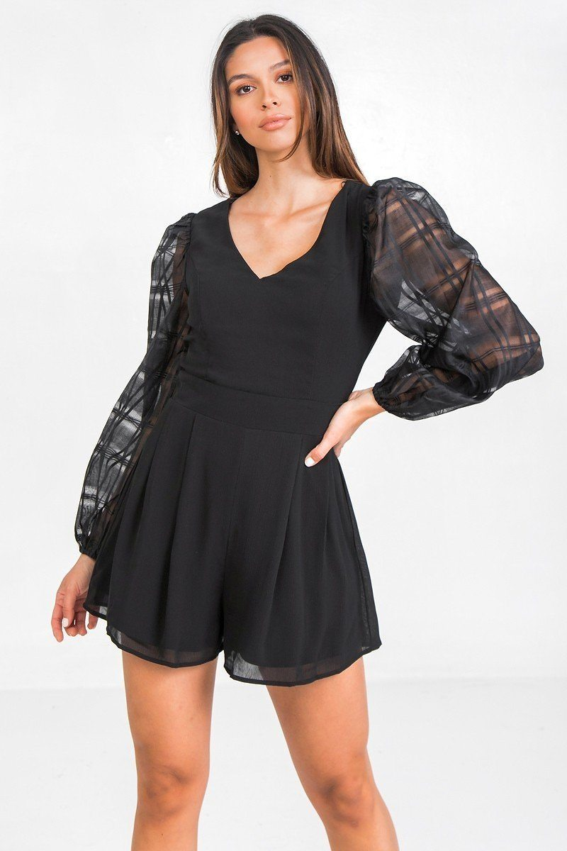 V Neckline Solid Romper - Absolute Fashion 2020