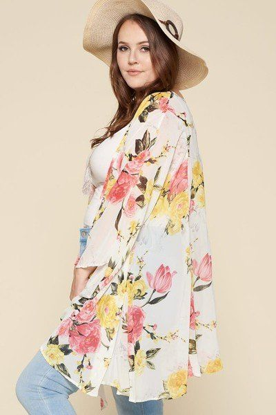 Plus Size Floral Printed Oversize Flowy And Airy Kimono With Dramatic Bell Sleeves - Absolute Fashion 2020