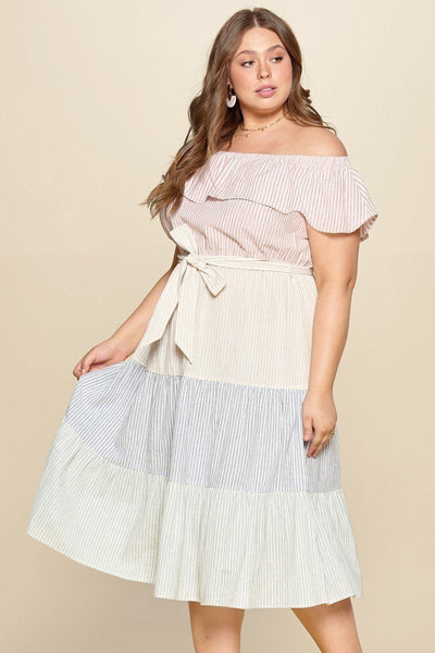 Tiered Off-shoulder Flounce Dress Featuring Stripe Details And Self Ties. - Absolute Fashion 2020