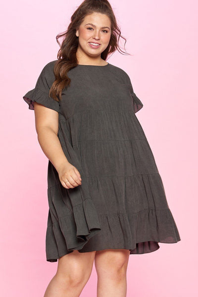 Solid Washed Woven Babydoll Dress - Absolute Fashion 2020