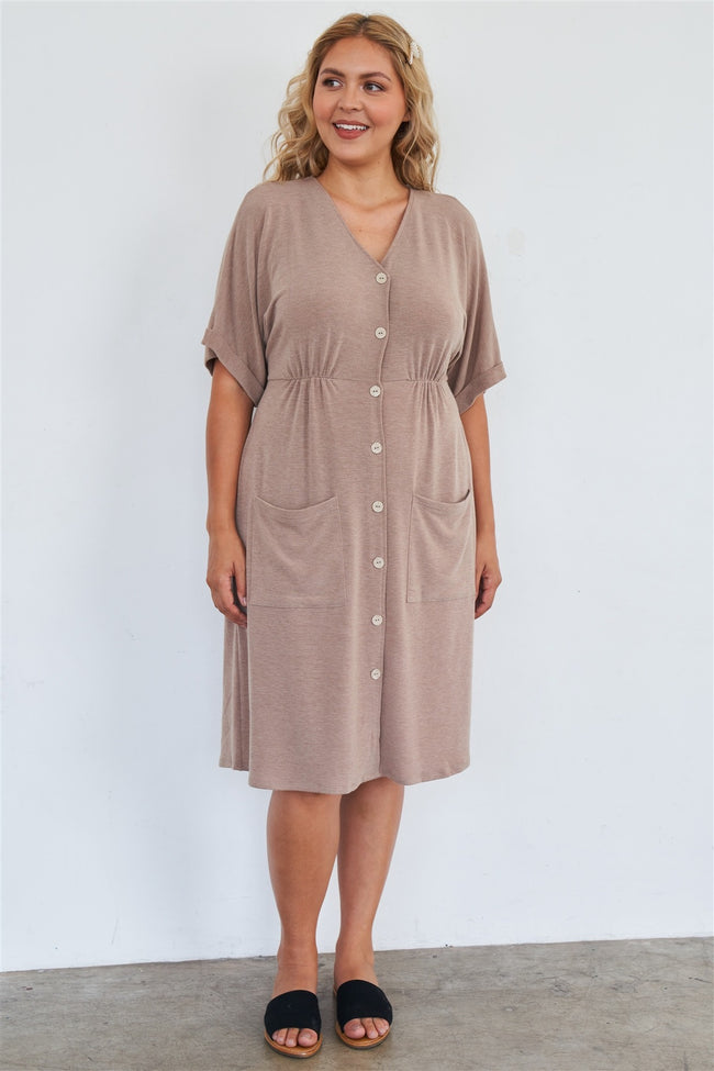 Comfy Mocha Fleece Short Sleeve Knee Length Button Up Dress - Absolute Fashion 2020