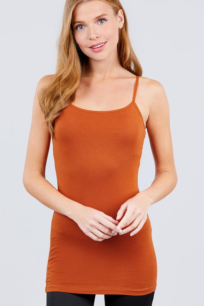 Basic Adjustable Spaghetti Strap Tunic Cami W/ Shelf Bra - Absolute Fashion 2020