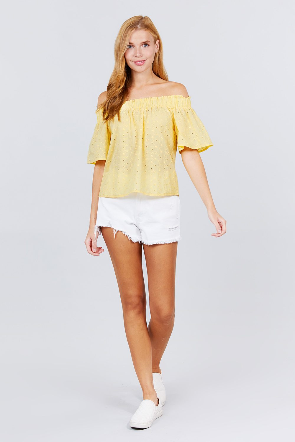 Short Sleeve Off The Shoulder Eyelet Woven Top - Absolute Fashion 2020