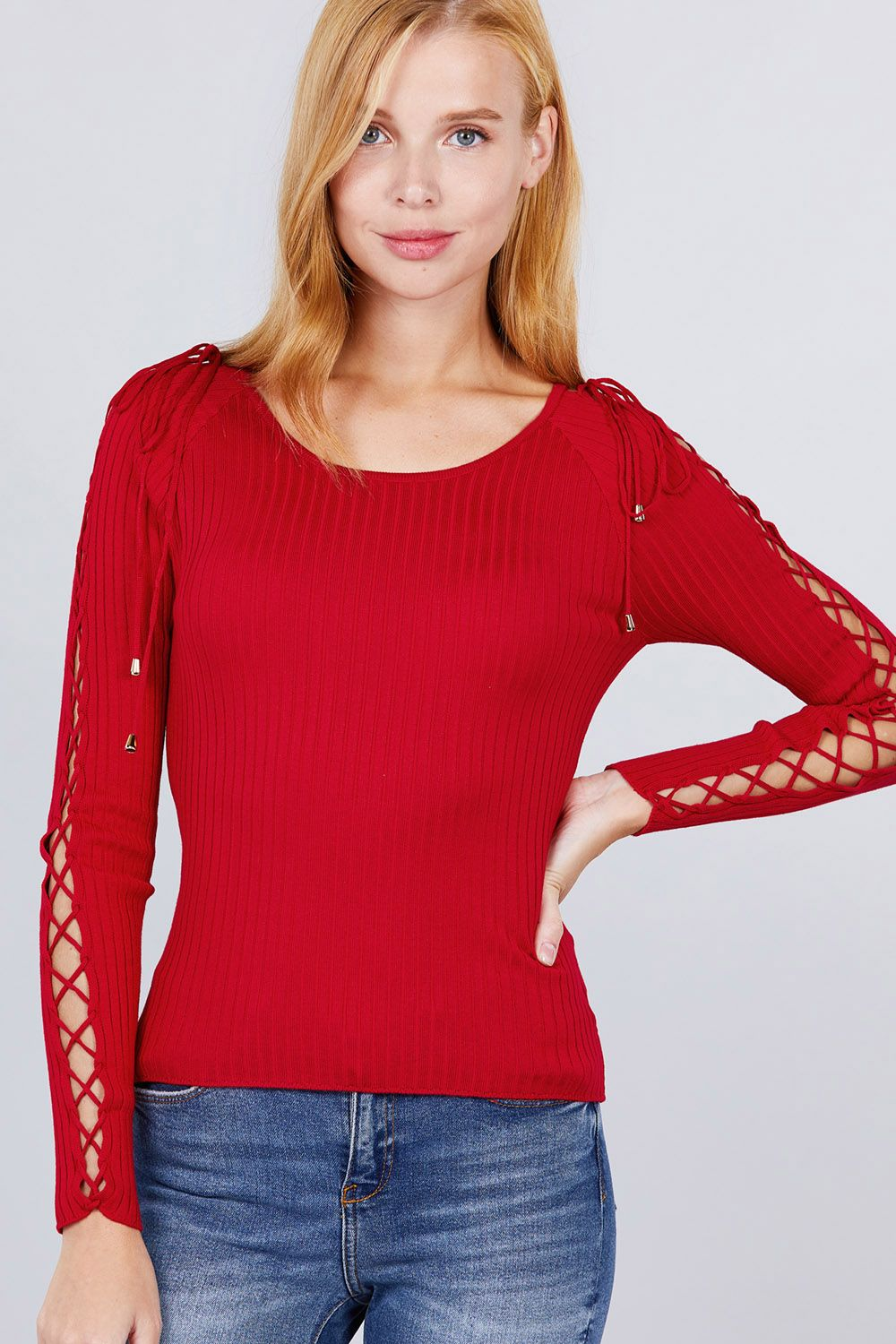 Long Sleeve W/strappy Detail Round Neck Rib Sweater Top - Absolute Fashion 2020