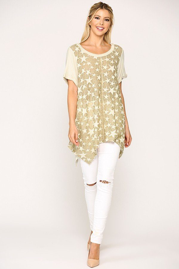 Star Textured Knit Mixed Tunic Top With Shark Bite Hem - Absolute Fashion 2020
