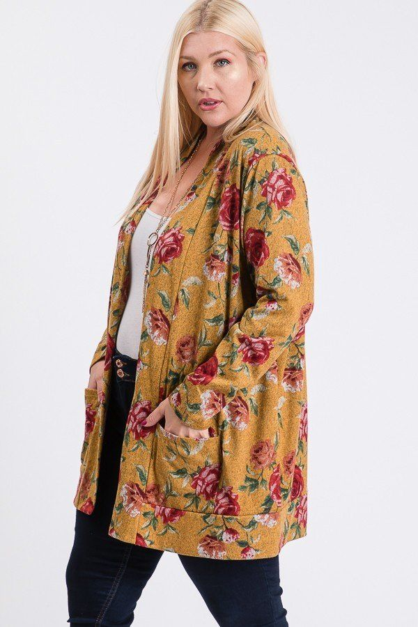 Plus Size Flower Print Pocket Flower Print Hacci Cardigan - Absolute Fashion 2020