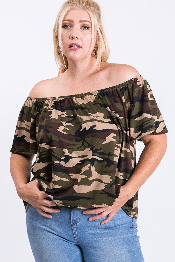 Camo Print Cool Off Shoulder Top - Absolute Fashion 2020