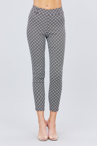 Elastic Band Glen Check Jacquard Yarn Dye Woven Long Pants - Absolute Fashion 2020