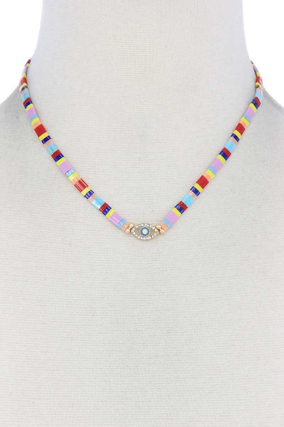 Evil Eye Charm Color Block Necklace - Absolute Fashion 2020