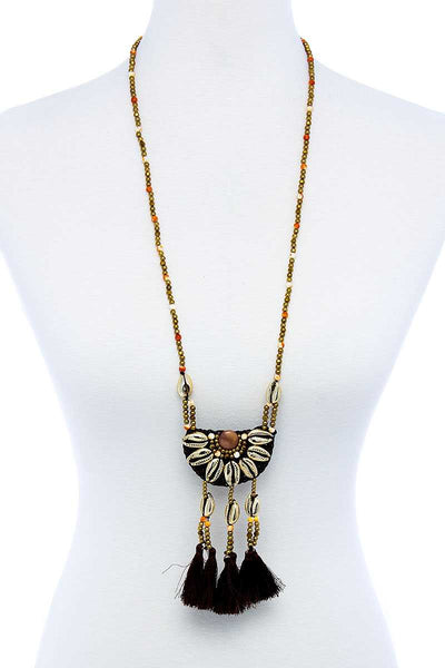 Fashion Sea Shell And Beaded Long India Necklace - Absolute Fashion 2020