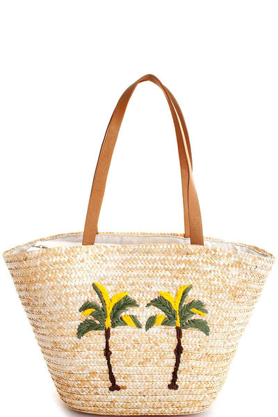 Chic Modern Natural Straw Woven Palm Tree Shopper Bag