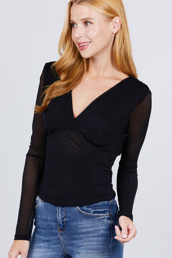 Long Sleeve V-neck Surplice Waist Shirring Detail Mesh Top