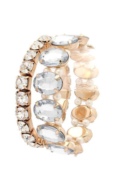 Oval Rhinestone Stretch Stackable Bracelet - Absolute Fashion 2020