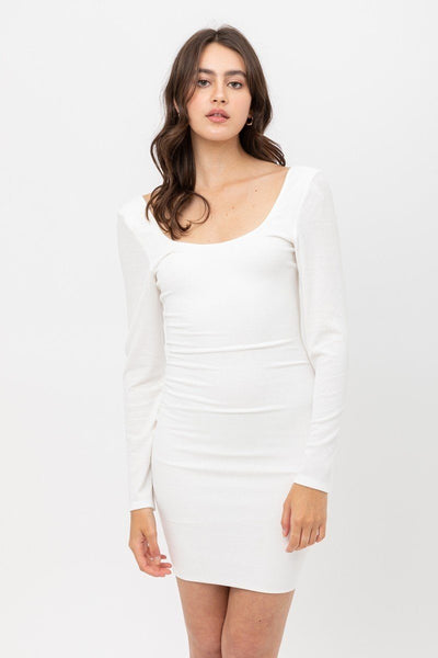 U Neck Of Front And Back Side, Basic Rib Dress With Long Sleeve - Absolute Fashion 2020